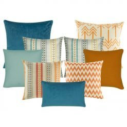 A collection of 9 cushion covers with line, arrow, chevron and solid patterns with blue, teal and orange colours