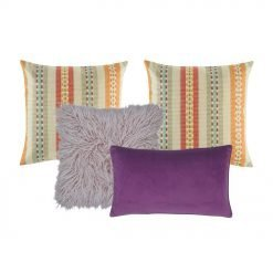 A collection of square and rectangular cushion covers in aubergine, plum, lilac and multi-color.