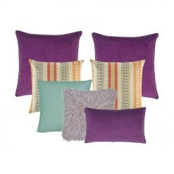 A set of plum, lilac, teal and multi-colored square and rectangular cushion covers