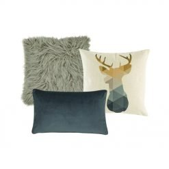 A grey faux fur cushion cover, a cushion cover with moose design and a rectangular cushion cover