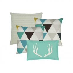 Collection of 4 cushions with teal and white colours