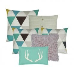 Pastel colour cushion collection with teal and pink fur