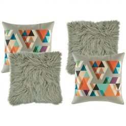 A pair of grey fur cushion and a pair of cushion in grey orange and blue patterns