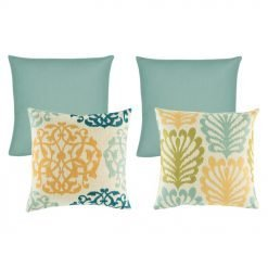 A set of 4 square cushion covers with floral and solid patterns with duck egg, orange and olive colours