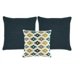 A set of 3 square cushions with dark blue and white colours