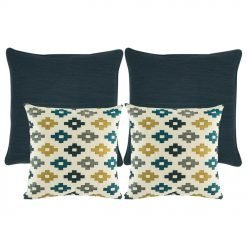 4 black and white cushions with patterns