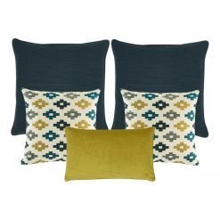 A collection of 5 square and rectangular cushions in dark blue and yellow colours