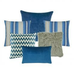A mix of 6 blue and grey square and rectangular cushions with chevron, line and solid patterns