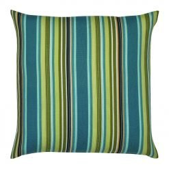 outdoor cushion with green and teal stripes design