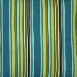 Cushion cover with green and teal stripes (CLOSE UP)