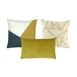 Image of three gold cushion covers with solid and linear designs