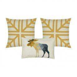 Gold and white Printed cushion cover, and one rectangular cushion with moose design