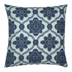 Photo of square outdoor cushion cover in blue and white colours