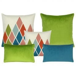 A collection of 5 cushion covers with green and blue colours and in square and rectangular shapes