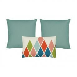 A set of 3 rectangular and square cushions in duck egg colour and diamond patterns