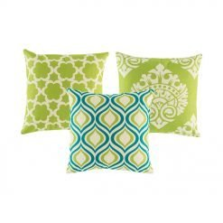 A set of 3 square lime and blue cushion covers with diamond and floral patterns