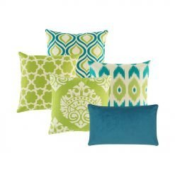 A set of 5 square and rectangular cushions in lime and blue colours