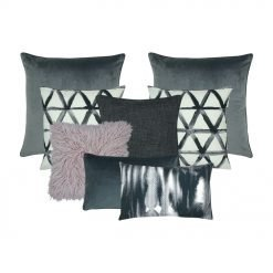 A set of eight cushion covers in grey, white and lavender colours
