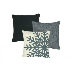 A set of three square grey cushions