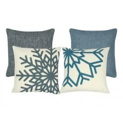 2 plain cushion covers in blue and grey and 2 snowflake patterned cushion covers