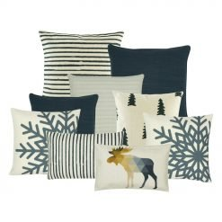 A set of six cushion covers with moose, stripes, pine and snowflakes design and in grey and white colours