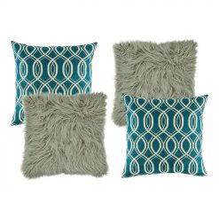 two grey fur textured cushion, and two blue and white patterned cushion