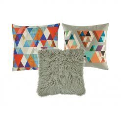 A pair of multicoloured cushion cover and one grey fur cushion cover