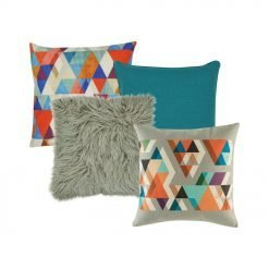 A collection of 4 square cushions with blue and grey colours and with triangle patterns