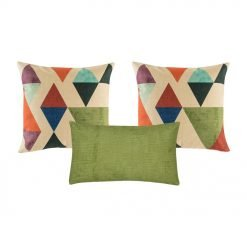 A pair of patterned cushion and one green rectangular cushion