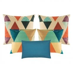 A collection of 5 blue and multi-coloured cushions with diamond and triangle patterns