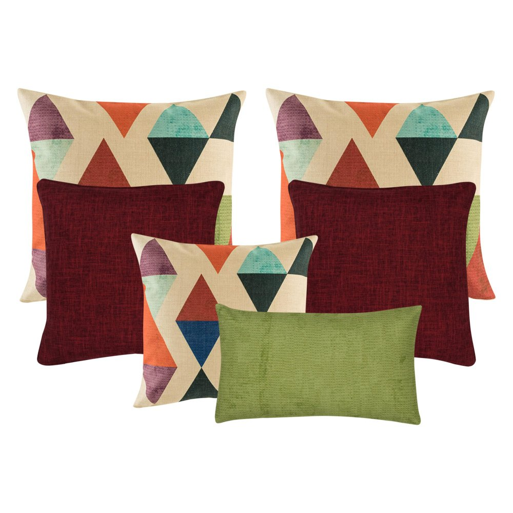 three multi coloured cushion, two plain dark red cushion, and 1 rectangular cushion in green