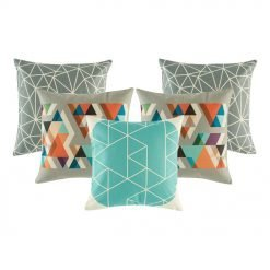 2 grey patterned cushion cover, 1 grey and orange cushion cover and 1 teal and white patterned cushion cover