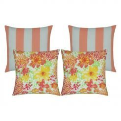 4 outdoor cushion collection featuring two peach striped cushion covers and two yellow and pink floral outdoor cushions