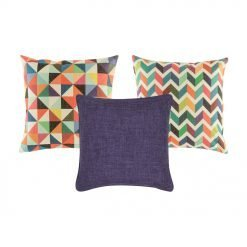 A 3 set rainbow coloured cushions with diamond and chevron patterns