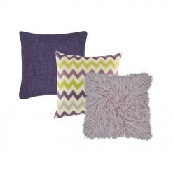 A collection of 3 purple, plum, lilac square cushions