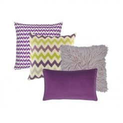 One zigzag patterned cushion cover in purple and white. One chevron patterned cushion cover in purple and yellow, one lilac cushion cover in grey, and one rectangular purple cushion cover