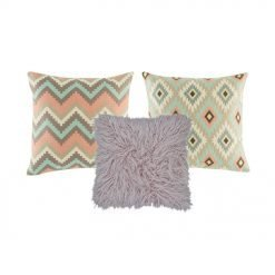 A lilac fur cushion cover, and two pastel blue and pink cushion covers in diamond and chevron patterns.