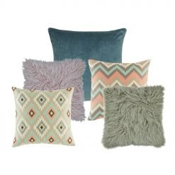 one blue cushion cover, two pastel hued cushion cover with diamond and chevron design, and two fur cushion covers in lilac and grey.