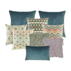 Two plain blue cushions covers, 4 cushion cover in different designs in pastel pink and blue, one grey fur cushion cover, one cushion cover in lilac and one blue rectangular cushion