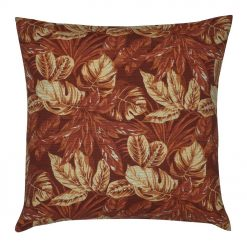 Jungle Dusk Outdoor cushion cover with red orange russet outdoor cushion cover with leaves