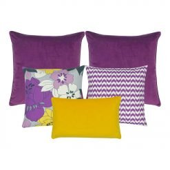 A mix of5 cushion covers in purple, lavender and yellow colours and floral and chevron designs