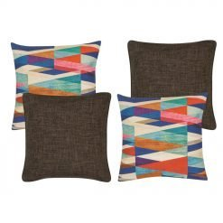 A pair of a patterned cushion cover and a pair of brown cushion cover