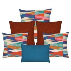 Three pieces of multi coloured cushion, a pair of burnt orange cushion and 1 rectangular cushion