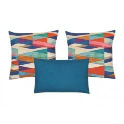 A pair of multicolored cushion and one blue rectangular cushion