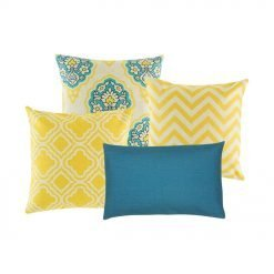 A collection of yellow and blue cushions
