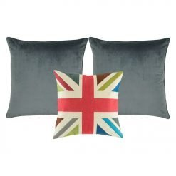 A colorful cross design cushion cover, a pair of grey cushion cover