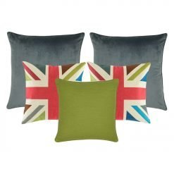 two grey cushions, a plain olive green cushion and two red, green, and teal with cross design cushion
