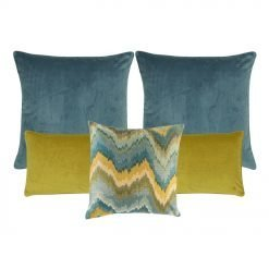 A set of 5 rectangular and square cushions in yellow and blue colours