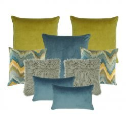 A set of 9 cushion covers in blue, yellow and grey colours
