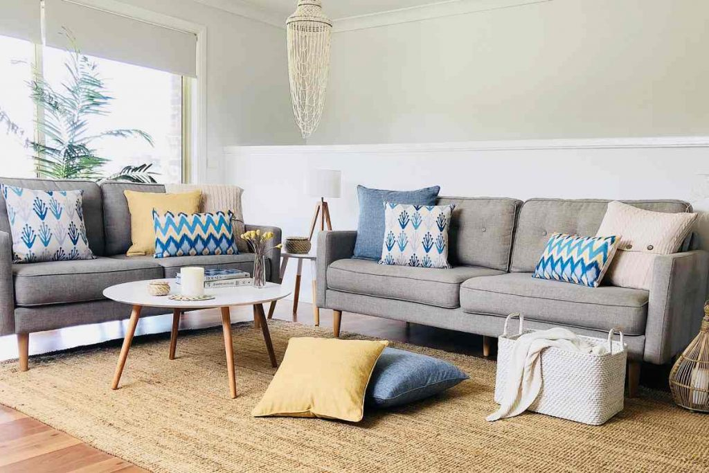 Coogee Collection of blue and yellow cushions in coastal theme